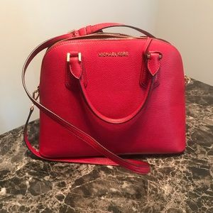 MK Large dome purse with Crossbody Strap Red